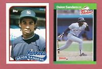 2 DEION SANDERS CARDS 1989 TOPPS #110 TRADED +THE ROOKIES # 6 YANKEES RC LOT