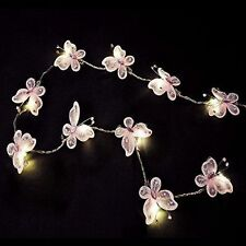 Pair of - Battery Operated LED Pink Faux Silk Butterfly Fairy String L