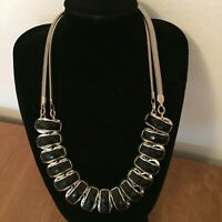 M&S Chunky Silver Tone Statement Necklace Black Segments Costume Jewellery
