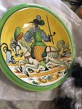"""ANTIQUE Italian Ceramic Hand-Painted Hanging Wall Plate - 13.75"""""""