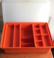Vintage Tupperware Poppy Hobby Organizer Container w/2 Top Sliding Trays