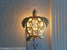 SEA TURTLE~SPARKLING AUSTRIAN CRYSTAL & 24K GOLD PLATED FIGURINE~NIGHT LIGHT