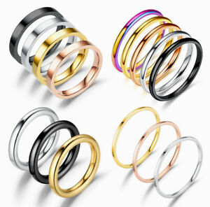 Women Men Fashion Thin Black Silver Gold Titanium Steel Ring Band Collections
