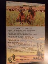VINTAGE POSTCARD COWBOY WESTERN HORSES CATTLE COWBOY'S PRAYER