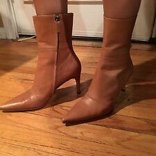 GUCCI CARAMEL BROWN Soft Leather Pointed Toe Mid Ankle Boots Zipper Sz 7C