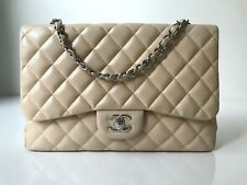 CHANEL Lambskin Quilted Jumbo Single Flap Beige SHW