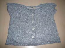 H & M süße kurzarm Bluse Gr. 86 hellblau-weiß mit Blumen !!
