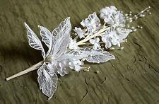 wedding bridal hair white flowers FAUX PEARL