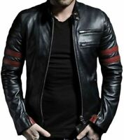 New Fight Club Retro Mayhem Black Biker Leather Jacket with Red Stripes two zipp