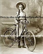 Old/Vintage/Antique Cute/Adorable/Pretty Girl W/ Hat and Bike/Bicycle 1900 Photo