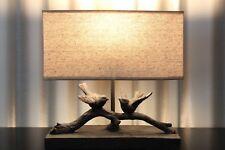 Lampe Nachttischlampe Leuchte Holz Keramik Tischlampe Tischleuchte braun beige