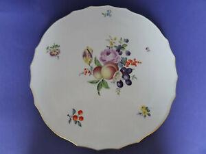 Meissen Tortenplatte feine Frucht- / Obstmalerei mit Blumen 1.Wahl