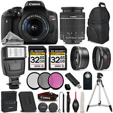 Canon EOS Rebel T6i / 750D DSLR Camera + 18-55mm STM LENS +64GB +3PC FILTER KIT