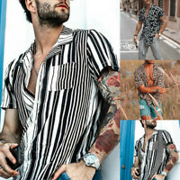 Men's Casual Beach Hawaiian Print Short Sleeve Button Retro T Shirts Tops Blouse