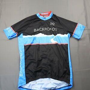 Louis Garneau Size Medium Half Zip Cycling Jersey Black Blue Backroads