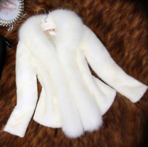 Womens Faux Fur Coats Slim Warm Short Jacket Winter Elegant Parka Fashion Casual