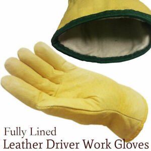 Supreme Thermal Fleece Lined Leather Work Safety Gloves HGV Drivers Fork Lift