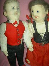 Pair antique German, straw stuffed jtd.felt dolls, glass eyes, center face seam