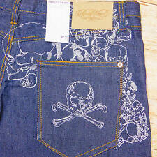 ROCAWEAR NWT SKULL CROSSBONES Denim Jean Shorts Men's 38 39 40 41 42 Blue Long