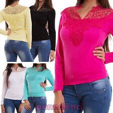 Maglia donna maglietta aderente elastic scollo pizzo manica lunga nuova cj-2049
