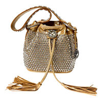 Raviani Full Crystal Drawstring Gold Color Leather Bag Style MADE IN USA