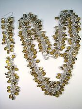 Dangling Earrings - 925 Sterling Silver Ladies Matching Faux Citrine Necklace &