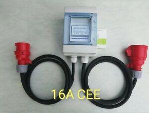 16A CEE Zwischenzähler digital, Adapter, Kraftstrom, Drehstrom 400V, neu