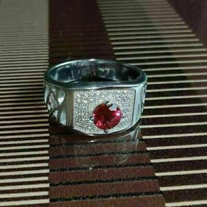 Fabulous Engagement & Wedding Men's Ring 1.29 Ct Excellent Ruby 14K White Gold