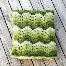 "Knit Afghan Blanket Throw Green Vintage Style Ripple Mid Century Modern 60""× 60"""