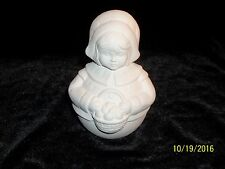 Roly Poly Thanksgiving Pilgrim Girl  - Ceramic Bisque Ready to Paint
