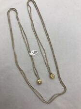 """Sterling Silver .925 36"""" Double Wheat Chain Lariat Necklace Gold Ends"""