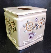 EUC Croscill Chambord Cassis Ceramic Tissue Box Holder Purple Floral