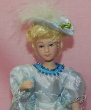 Dollhouse Miniature Doll Mom Mother Victorian Porcelain Blue Dress & Hat 1:12
