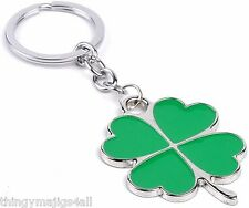 4 Leaf Clover Shamrock Keyring Key Ring Metal Ireland Green Irish Silver Lucky