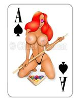 JESSICA RABBIT sexy Billiards Pool girl pin-up playing card style sticker decal