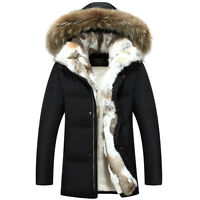 UK men jacket winter fur lining parka hooded overcoat outwears size S M L XL XXL