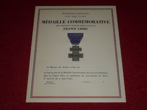 [Coll.J.DOMARD] RARE DIPLOME VIERGE MEDAILLE SERVICES VOLONTAIRES FRANCE LIBRE