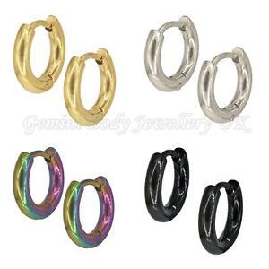 1 Pair Titanium plated Surgical steel Huggie Hoop earrings Gauge 1mm will fit st