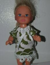 Handmade  Green White  dress  White Lace. To Fit Barbie's liltle sister Shelly