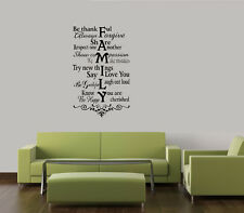 FAMILY RULES THANKFUL COLLAGE WALL DECAL HOME QUOTE VINYL ART STICKER WORDS