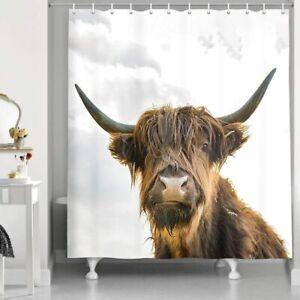"Farm Animals Cow Brown Highland Cattle Art Print Grey Sky Shower Curtains 69x70"""