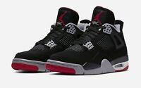 Nike Air Jordan Retro 4 Bred Black/Fire Red Cement AUTHENTIC 2019 Men's Size 7