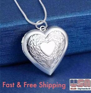 """925 Sterling Silver Plt Heart Love Necklace Locket Picture Photo Pendant 18"""" N1"""