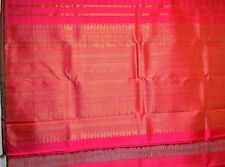 100% SILK Kanjeeveram South India Saree Sari Blouse Designer Pink Gold Tone NEW