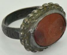 Rare Georgian Occultist/Masonic Memento Mori Skull Carnelian wax seal ring c1749