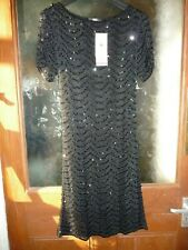 M&S Hand Embellished Black Crochet Sequin Dress Size 12  BNWT