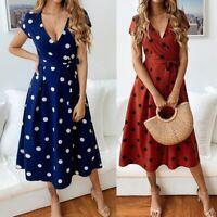 Women Polka Dot Print Dress Summer Beach Short Sleeve V-Neck Dress Elegant G6N6