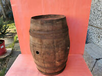 ANTIQUE OLD CARVED WOODEN CANTEEN FLASK KEG BARREL WINE BRANDY EARLY 20th