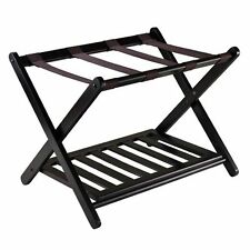 Suitcase Luggage Rack With Shelf Dark Espresso Foldable Storage Clothes Stand