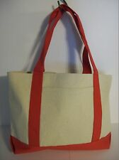 Liberty Bags 11 oz Cotton Canvas Beach/Grocery Tote 8869-09 Natural/Red